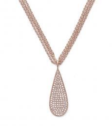 Ralph Lauren Rose Gold eardrop Triple Strand Necklace
