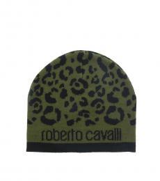 Roberto Cavalli Black-Military Green Leopard Beanie
