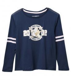 True Religion Girls Navy Long Sleeve Varsity T-Shirt