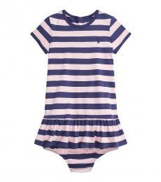 Ralph Lauren Baby Girls Boathouse Navy Striped Dress
