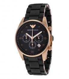 Emporio Armani Black-Rose Gold Chronograph Watch