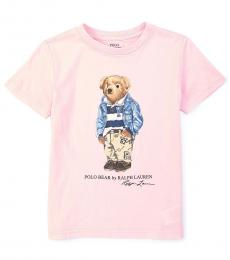 Ralph Lauren Little Boys Carmel Pink Varsity Bear T-Shirt