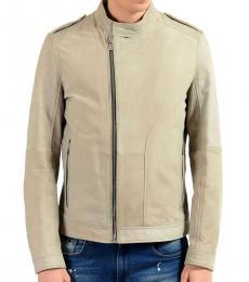 Grey Leather Basic Jacket