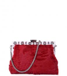 Dolce & Gabbana Red Astrakhan Medium Shoulder Bag