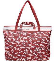 Red Printed Large Tote