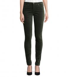 AG Adriano Goldschmied Green Legging Velvet Skinny Jeans