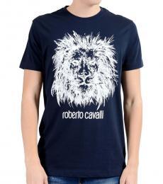 Roberto Cavalli Dark Blue Graphic Lion T-Shirt