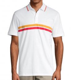 Calvin Klein White Striped Cotton Polo