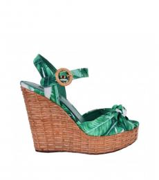 Dolce & Gabbana Green Botanical Print Wedges
