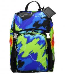 Prada Multicolor Print Large Backpack
