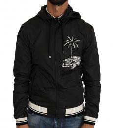 Dolce & Gabbana Black Palm Car Windbreaker Jacket
