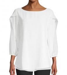 Calvin Klein White Ruffle Sleeve Blouse