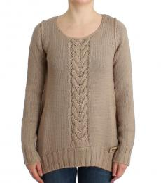 Cavalli Class Beige Knitted Wool Sweater
