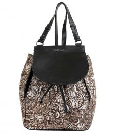 Black Printed Large Backpack