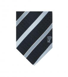 Versace Navy Light Blue Striped Tie
