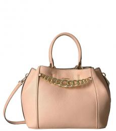 Light Pink Pebble Leather Medium Satchel