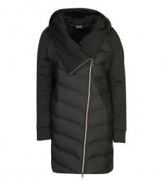 Emporio Armani Black Twoway Zipper Hooded Jacket