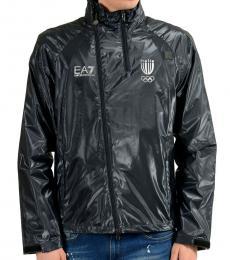 Navy Blue Hooded Windbreaker Jacket
