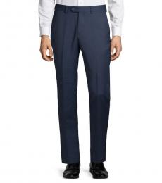 Dark Blue Solid Textured Pants