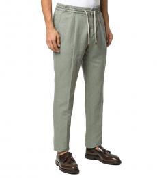Olive Drawstring Straight Leg Trousers