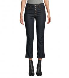 AG Adriano Goldschmied Indigo High-Rise Button Crop Jeans