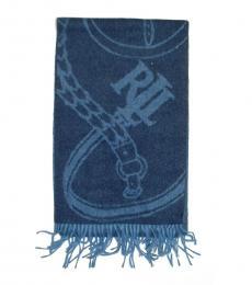 Blue Signature Bridle Jacquard Scarf