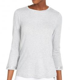 Michael Kors Petite Light Grey Petite Embellished Bell-Sleeve Top
