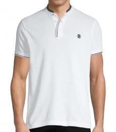White Logo Cotton Polo