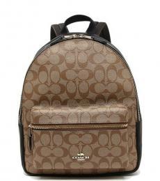 Khaki Black Charlie Medium Backpack