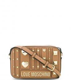 Love Moschino Brown Metal Studs Camera Small Crossbody