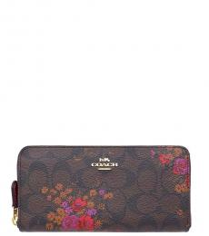 Coach Brown Accordion Zip Floral Bundle Wallet