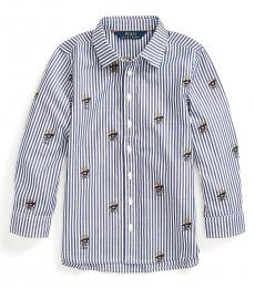 Little Girls Navy White Sweater Bear Shirt