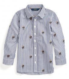 Ralph Lauren Little Girls Navy White Sweater Bear Shirt