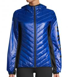 DKNY Royal Blue Colorblock Puffer Jacket