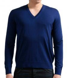 Dark Blue V-Neck Pullover Sweater