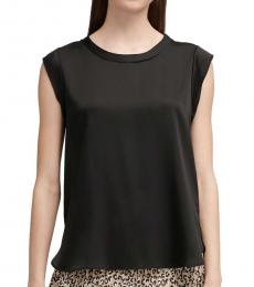 DKNY Black Cap-Sleeve Top
