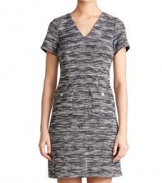 Black Flap Pocket Sheath Dress