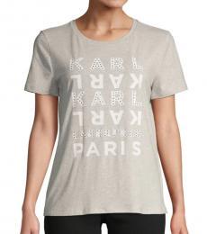 Karl Lagerfeld Grey Graphic Short-Sleeve Tee