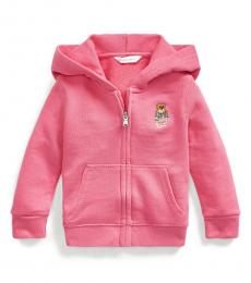 Ralph Lauren Baby Girls Pink Madras Bear Full-Zip Hoodie