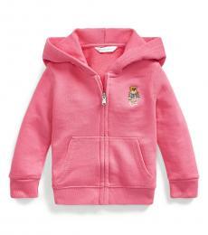 Ralph Lauren Baby Girls Pink Madras Bear Full-Zip Hoodie