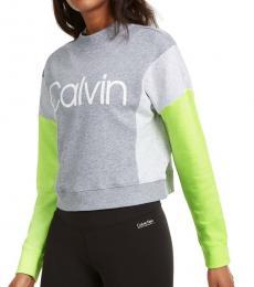 Calvin Klein Light Grey Colorblocked Fleece Sweatshirt