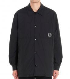Black logo shirt jacket