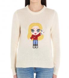 Chiara Ferragni White Cf Mascotte Cashmere Weater