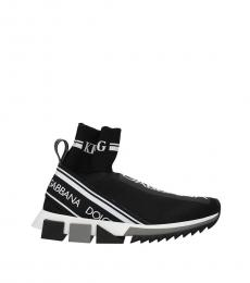 Black Logo Sock Sneakers