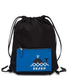 Prada Black Drawstring Large Backpack