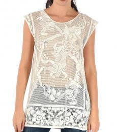 Dolce & Gabbana White Crew-Neck Sheer Top