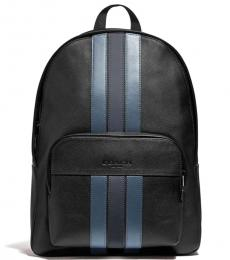 Coach Black Navy Houston Varsity Stripe Large Backpack