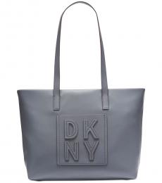 DKNY Grey Tilly Stacked Logo Top Zip Large Tote