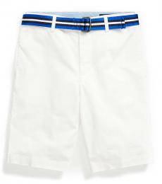 Little Boys White Slim Fit Belted Chino Shorts