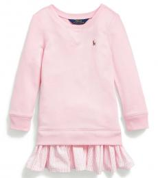 Ralph Lauren Little Girls Carmel Pink Cotton-Blend-Terry Dress